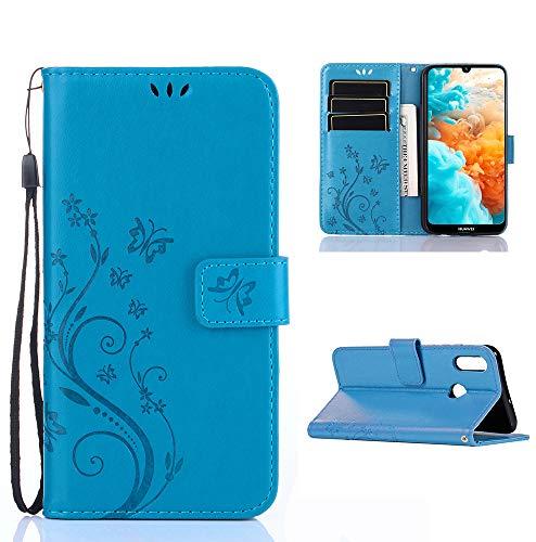 XINKO Huawei Y6 2019 Hülle, Retro Blumen Muster Design -[Ultra Slim][Card Slot] Wallet Tasche Hülle für Huawei Y6 2019 (Blau)