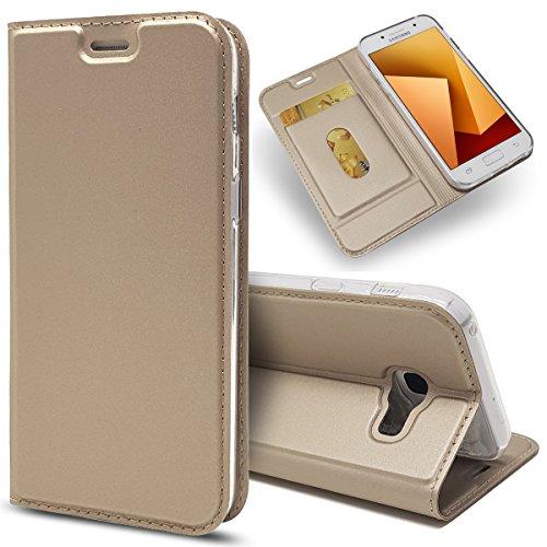 HülleLover Hülle Galaxy A5 2017, Mode Reine Farbe Ledertasche für Samsung A5 2017 Kartenfächer Kreditkarte Taschen Schutzhülle für Samsung Galaxy A5 2017 5,2