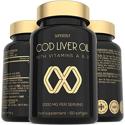 Cod Liver Oil Tablets - High Strength 2000mg - 60 Softgel Capsules - Rich...
