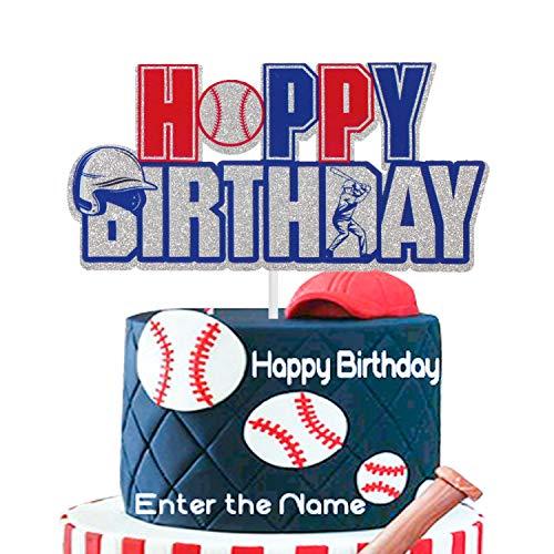 AERZETIX Baseball Cake Topper Happy Birthday Sports Themed Decor for Boys Girls Man Baseball Player Sign Party Decorations Supplies