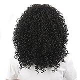 FFWIGS Natural Buscando Corto/Negro Kinky Curly Pelucas para Las Mujeres Afro Americanas Largo Pelo Lado de la separación Mejor Resistente al Calor Fibra de Pelo sintético,Negro