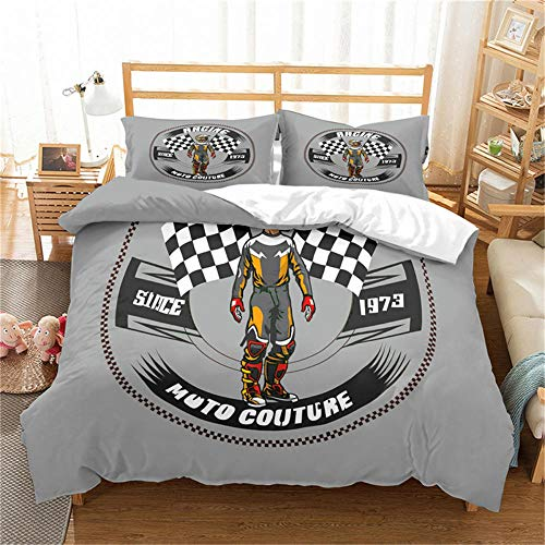 Double Duvet Cover Set Motocross Racer Grey City and Motorcycle 3D Print Quilt Cover Set with 2 Pillow Shames Lightweight Soft Microfiber Bedding Sets with Zipper Closure 3PCs-A_GB-Single140cm×210cm