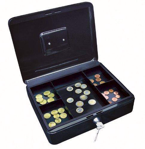Wedo 145421H Geldkassette (aus pulverbeschichtetem Stahl, versenkbarer Griff, Geldnoten- und Belegeklammer, 5-Fächer-Münzeinsatz, Sicherheits-Zylinderschloss, 30 x 24 x 9 cm) schwarz
