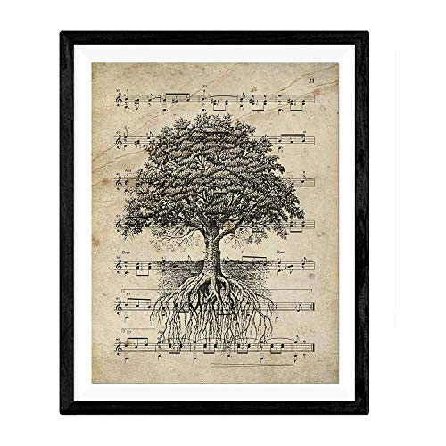 Nacnic Vintage Baum des Lebens Poster. Vintage Stil Wanddekoration Abbildung von Natur und Legende mit Noten. Verschiedene kreative Bilder ohne Rahmen. Größe 24x30cm.