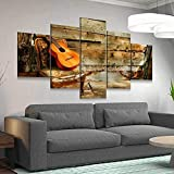 45Tdfc 5 Piezas Cuadro de Lienzo - Guitarra Retra Solitaria Pintura 5 Impresiones de imágenes Decoración de Pared para el hogar Pinturas y Carteles de Arte HD 200cmx100cm Sin Marco
