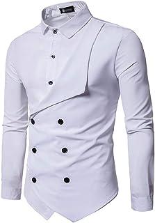 (SGL Collection) ドレスシャツ メンズ 長袖 個性的 折り返し デザイン ビジュアル レギュラーカラー スリムフィット カットソー 4色選択 サイズ S ~ XL 【日本向けサイズ仕様】