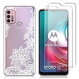 Reshias Hülle Kompatibel mit Motorola Moto G10, Weiß Blume Weich TPU Schutzhülle mit Zwei Gehärtetes Glas Schutzfolie Bildschirmschutzfolie für Motorola Moto G10 / G20 / G30 (6,5 Zoll)