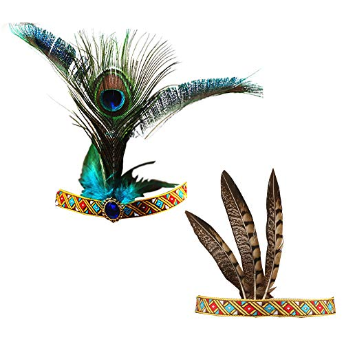 Handmade Indian Headdress, Peacock feather and Chicken Feather, Fashion Indiana Ethnic Native American Costume for Women Lady Girls