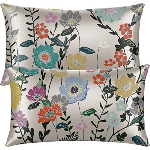 Neptten Satin Pillowcase for Hair and Skin. Wrinkle, Fade Resistant. Queen Size Pillowcases Set of 2. Soft and Cozy. Satin Pillow Cases for Women. Silky Floral Pillow Covers with Envelope Closure