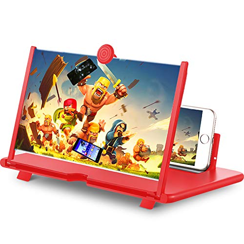 "12"" Phone Screen Magnifier,3D Cell Phone HD Curved Screen Amplifier,Foldable Phone Enlarger for Movies,Videos,Gaming,Compatible with Most Phones(Red)"