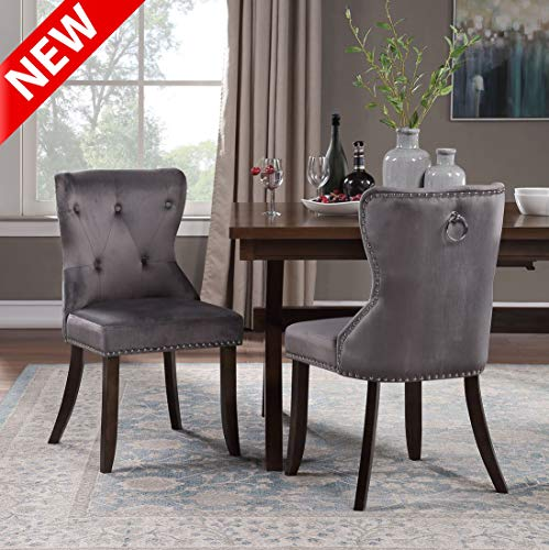 DANGRUUT Upgraded Version Luxurious Dining Chair Set of 2, Elegant Best Armless Chair, Ergonomics Thicken Upholstered Accent Side Chair with Wood Legs, Button Tufting and Chrome Nailhead Trim (Grey)