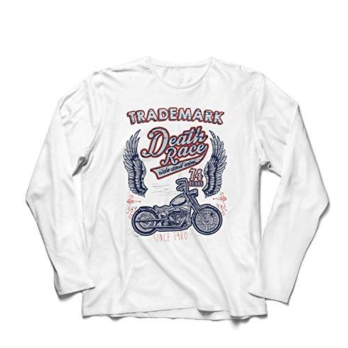 lepni.me Camiseta de Manga Larga para Hombre Carrera de la Muerte - Andar y Ganar, Motocicleta Retro, Moto clásica de la Vendimia (Medium Blanco Multicolor)