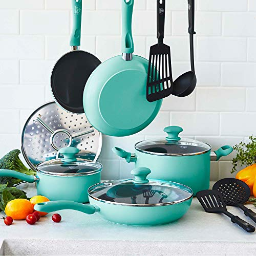 GreenLife Soft Grip Pro Healthy Ceramic Nonstick, Cookware Pots and Pans Set, 13 Piece, Turquoise