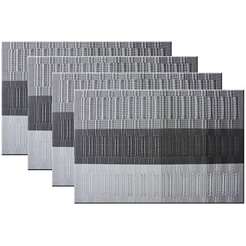 Bright Dream Placemats Easy to Clean Heat Ressietant for Dining Table Mats 12x18 inches Set of 4(Black+Gray)