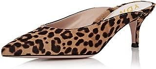 YDN Women Dressy Pointed Toe Low Heel Loafers Slip on Mules Slide Sandals Kitten Shoes
