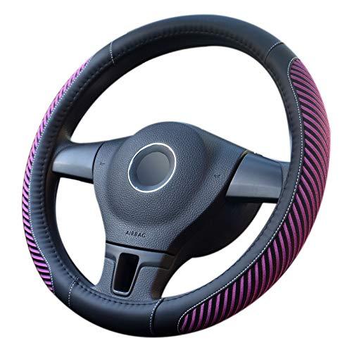 TaoToa Funda universal de cuero de seda fría para volante de coche, 38 cm, estilo deportivo, antideslizante, color morado