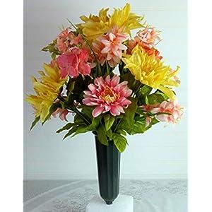 Spring Cemetery Arrangement, Cemetery Flowers with Dahlias, Easter Cemetery Flowers, Spring Cemetery Vase