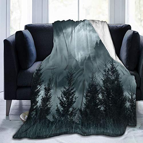 Manta suave y esponjosa, silueta de castillo mágico sobre luna llena, paisaje de fantasía, bosque aterrador, súper suave, manta de forro polar, manta de dormitorio, cama de TV de 152 x 127 cm