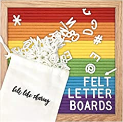 💖 EXCEPTIONAL QUALITY, HANDMADE FELT LETTER BOARDS. With warm oak frames & soft, robust rainbow colored felt, these boards are built with love, to last. The perfect complement to your decor, your craft space, classroom, restaurant, announcement, reve...