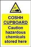 COSHH Señal de Seguridad para armarios con Productos químicos peligrosos almacenados aquí – 1,2 mm plástico rígido 200 mm x 150 mm