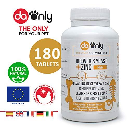 DAONLY Bierhefe + Zink + Vitamin E für Hunde und Katzen, Natürliche nahrungsergänzung Für die Gesundheit der Haut, des Fells und der Krallen Ihres Haustieres, Natürliche Quelle von Vitamin B komplex.