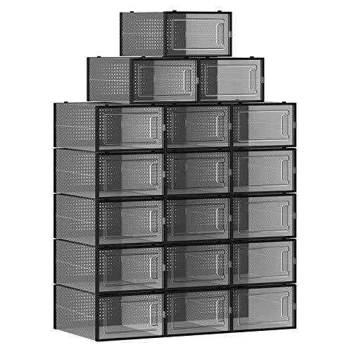 SONGMICS Schuhboxen, 18er Set, Aufbewahrungsboxen für Schuhe, Schuh-Organizer, Kunststoffboxen, faltbar und stapelbar, für Schuhe bis Größe 42, transparent-schwarz LSP18SBKV1