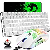 Gaming Keyboard and Mouse,3 in 1 Gaming Set,White LED Backlit Wired Gaming Keyboard Red Switch,RGB Backlit 12000 DPI Lightweight Gaming Mouse with Honeycomb Shell,Large Mouse Pad for PC Gamers
