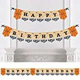 Big Dot of Happiness Nothin' but Net - Guirnalda de banderines para fiesta de cumpleaños - Decoración de fiesta deportiva - Feliz cumpleaños