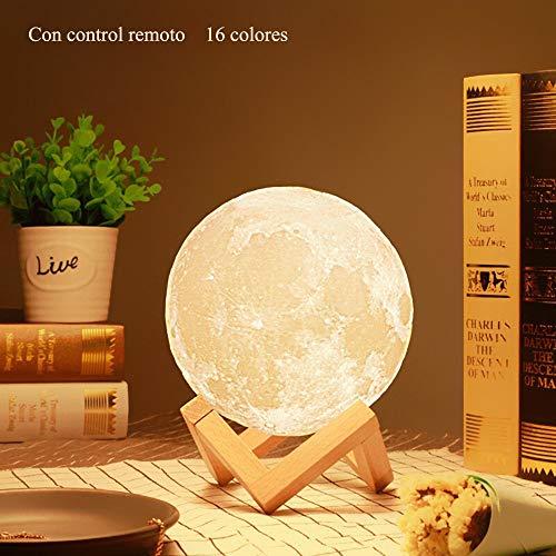 Lámpara de luna en 3D de 16 Colores LED Luz de Luna con 15 cm de Diámetro Lámpara de Noche Luna Llena con Control Remoto Carga Usb para Niños Bebé Dormitorio Café Bar Regalo de Fiesta Decoración