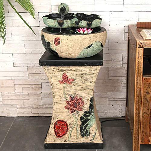 Living Equipment Water Lily Fuente de Agua de Mesa en Cascada Fuente de Agua de Interior al Aire Libre Cascada con Sonido Relajante para la decoración del jardín de la Oficina en casa Amarillo