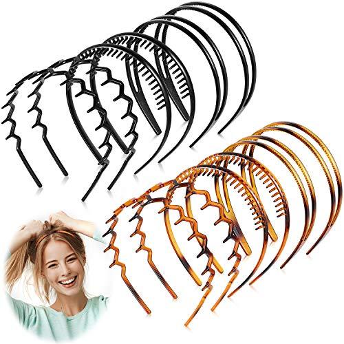6 Pieces Plastic Headband Teeth Comb Headband Double Row Headband Wavy Toothed Hairband Hair Accessory for Women Girls