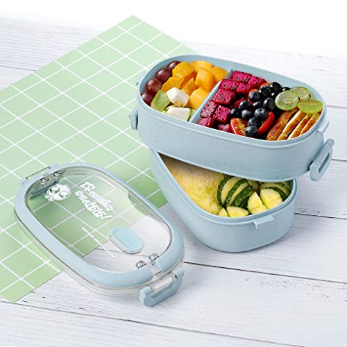 Lunch Box, 2-Layer Bento Box and Cutlery Set Lunch Boxes for Kid Adult Work School, Suitable for...