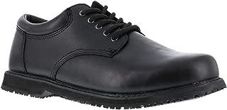 Grabbers Men's Friction Plain Toe Oxfords, Black Leather, Rubber, 2 M