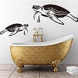 Calcomanía de pared de pantalla de baño de tortuga marina de dibujos animados, pegatinas de pared de animales de tortuga marina para baño, decoración de vinilo para habitación de niños