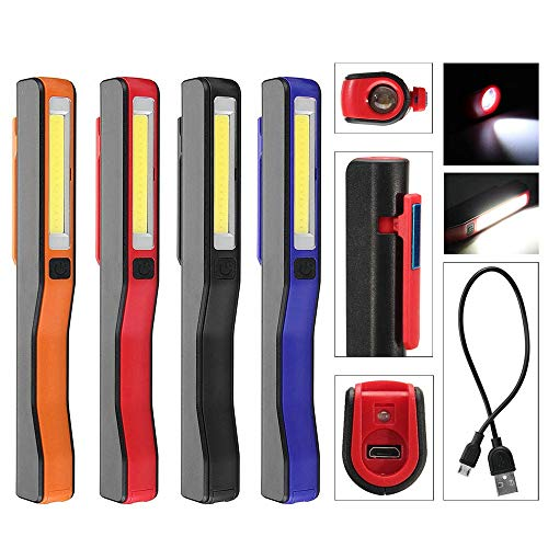 Draagbare led + COB oplaadbare zakwerklamp draagbare zelfverdediging buitenshuis magneetstift clip camper check zaklamp werkschijnwerper