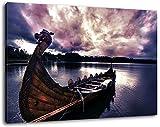 Ancien Viking navire Format: 100x70 cm images enfilées sur toile, des images énormes XXL complètement finis et encadrées de civière, impression d'art sur la photo murale avec cadre, moins cher que la peinture ou la photo, pas d'affiches ou de l'affiche