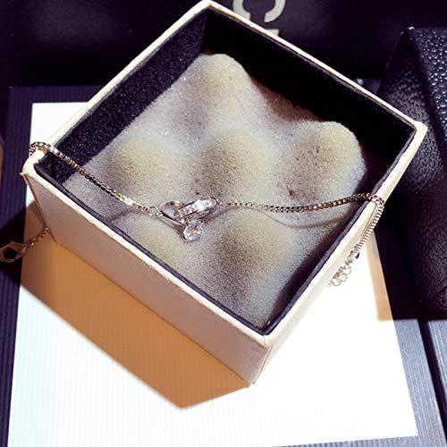 Pulseras exquisitas pulseras brillantes con hebilla de circonita para mujer, hecha a mano con circonita cúbica brillante, chapado en cobre, pulseras de oro y pulsera elegante (color de gema: plata)