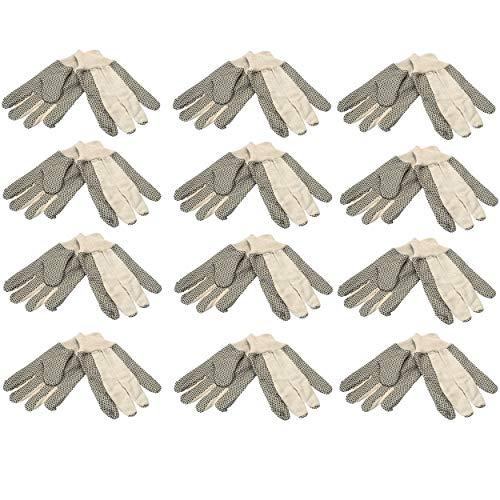 12 Paar Baumwollhandschuhe mit Noppen GR.10, Arbeitshandschuhe, Gartenhandschuhe