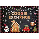 Allenjoy Gingerbread House Cookie Exchange Party Backdrop for Pictures Christmas Snowman Snowflake...