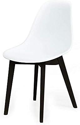 Design Guild Pratt White Chair with Wood Legs