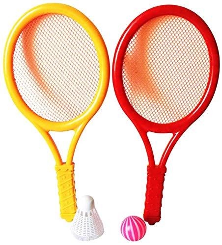 RENFEIYUAN Conjunto de Tenis de plástico con 2 Raquetas y Pelotas de Tenis de bádminton Junior Tennis Racquet Play Game Juguetes de Playa Badminton Raqueta