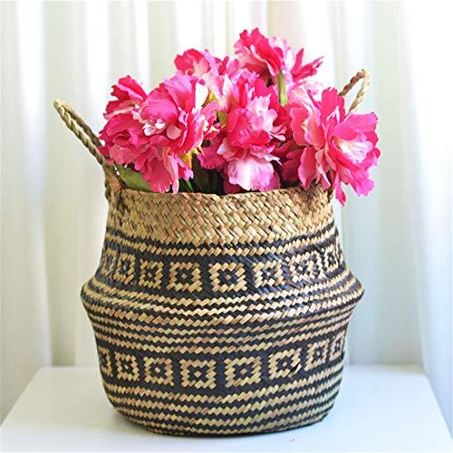 Youdong Rotin Panier Paille Jardin Pliable Fleur Pot Suspendus de Rangement en Osier tisse Seagrass rotin Vase Organisation Support De Pot Pliante Fleurs Panier Tissé Paille
