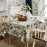 Mantel de Lino y algodón Estampado Verde Rectangular Flor Impresa Mesa de Comedor-jardín-decoración de Mesa de Cocina 140x180cm Lino