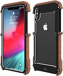 iPhone XS Wood Metal Frame Case,Drop Protection Ultra Thin Aluminum Metal Cover Protective Case Shockproof Dropproof Bumpe...