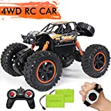 RC Car,JDBABY Remote Control Truck with Gesture Sensor Watch ,2.4Ghz 1/14 Scale Off Road Vehicle, All Terrain Hobby Toys Trucks for Boys Kids & Adults (Orange)