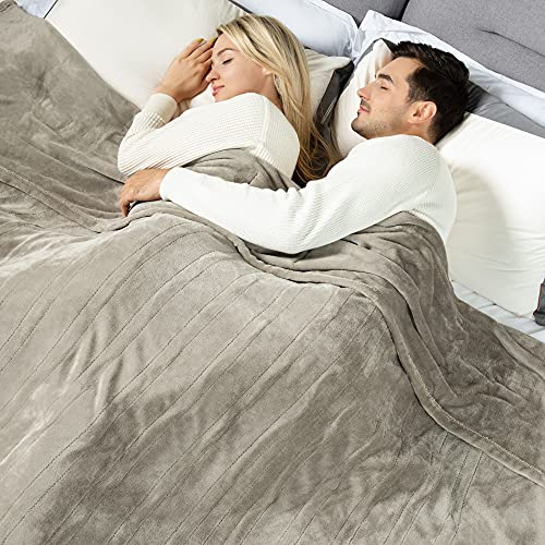[New] WOOMER King Size 100″x 90″ Electric Heated Throw Blanket, Dual Controllers, 10 Heat Levels & 0.5-12H Auto Off, Fast Heating, Over-Heat Protect, Machine Washable, 100% Soft Velvet, ETL Verified