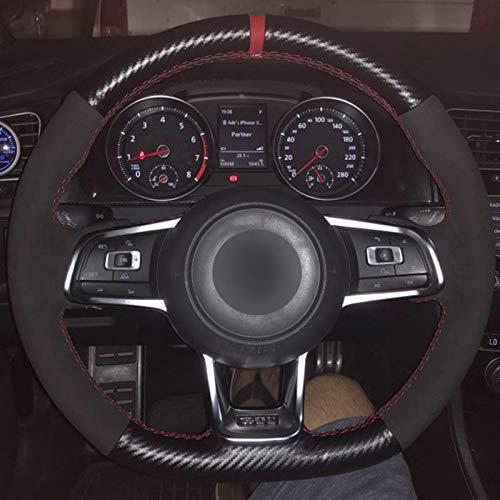 LSDJPO Cubierta del Volante del Coche de Fibra de Carbono Negra Cosida a Mano, para Volkswagen Golf 7 GTI Golf R MK7 VW Polo GTI