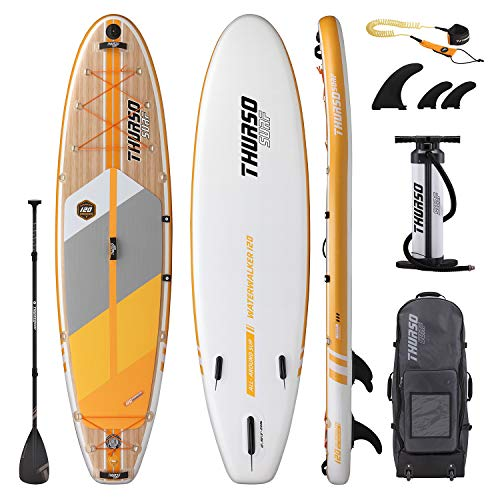 THURSO SURF Inflatable Stand Up Paddle Board All-Around SUP 10' x 30'' x 6'' Waterwalker Deluxe Package – Carbon Shaft Paddle/Dual Chamber Pump/Roller Backpack/Leash (2020 Waterwalker 120)