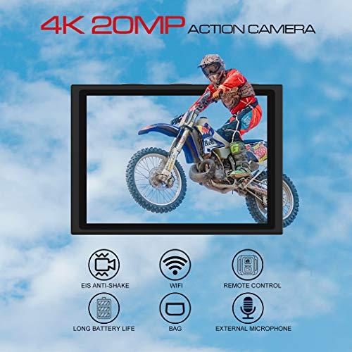 【2019 New】Apexcam Action cam 4K 20MP Sportkamera EIS WiFi Wasserdichte Unterwasserkamera 40M Externes Mikrofon 2.0'LCD 170 ° Weitwinkel 2,4G Fernbedienung 2x1200mAh-Batterien und mehrere Zubehörteile - 2
