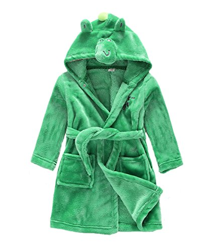 Kid Bathrobe Hooded Unisex Baby Boy Toddler Girl Pajamas Flannel Sleepwear Robe Green 5T